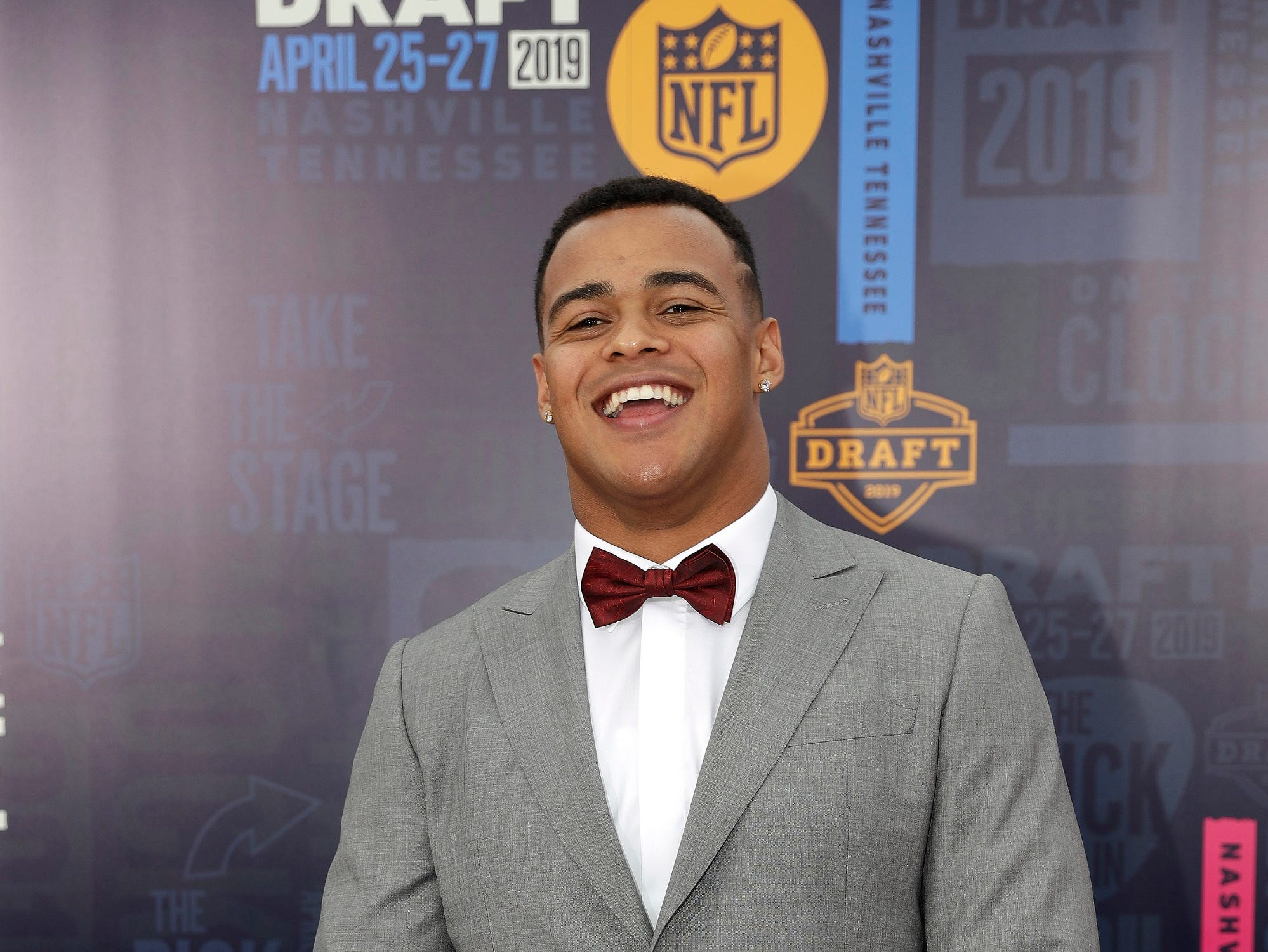 Iowa tight end Noah Fant walks the red carpet ahead of the first round at the NFL football draft, Thursday, April 25, 2019, in Nashville, Tenn.