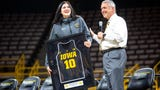 Iowa athletic director Gary Barta announced during a celebration of the 2018-19 team, April 24, 2019, that Hawkeye center Megan Gustafson's jersey will be retired.
