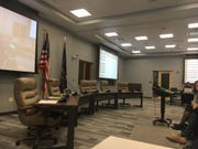 The room where Hamilton Southeastern Schools board meets inside the administration building in Fishers.