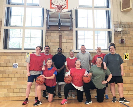 Fountain City Elementary School staff and teachers have practiced for months in preparation for the FCE Staff vs. WBIR Heartbreakers fundraiser on May 9. Back row, from left: Maegan Lay, Tom Reins, Spencer Davis, Jennifer Merryman, Hugh Powers, Sherry Sakhleh; front row: Kathryn Branam, Cassidy Roberts, Perri Craig and Cheyenne Roberts. April 24, 2019.