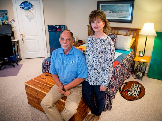 Cathy and Bobby Roberts are photographed in the bedroom of their son Trent Roberts on Monday, April 15, 2019.