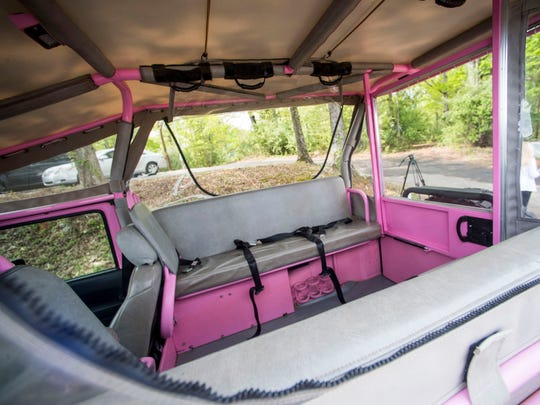 Inside a Pink Jeep Tours Jeep during a Pink Jeep Tours grand opening event held in Pigeon Forge on Thursday, April 25, 2019.