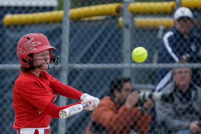 West Lafayette center fielder Caroline Sautter (9) connects during the seventh inning of a high school softball game, Wednesday, April 24, 2019, at Central Catholic High School in Lafayette. West Lafayette won, 8-1.