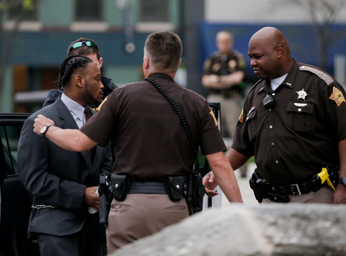 Deshay Hackner is escorted into the Tippecanoe County Courthouse by sheriff's deputies, Thursday, April 25, 2019 in Lafayette. Hackner is accused of killing Dewone Broomfield and Mary Woodruff in Vanderburgh County.