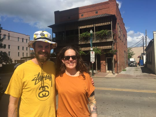 Stephen Ostling, 32, and Kristina Jones, 34, have traveled from Portland, OR, to come to this year's Festival International de Louisiane