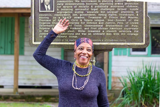 Barbara Hicks-Collins stands in front of her father's historic house, which she would like to turn into a museum.