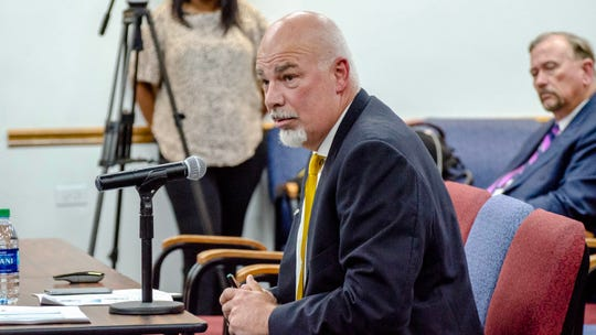 The Lafayette Parish School Board interviews Bart Thibodeaux for the new interim superintendent position at a special meeting Wednesday, April 24, 2019. Trosclair was chosen as the new interim superintendent.