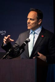 Kentucky Gov. Matt Bevin spoke on a number of topics during a lunch and Q&A session with members of the Rotary Club of Louisville on Thursday at the Muhammad Ali Center. 4/25/19
