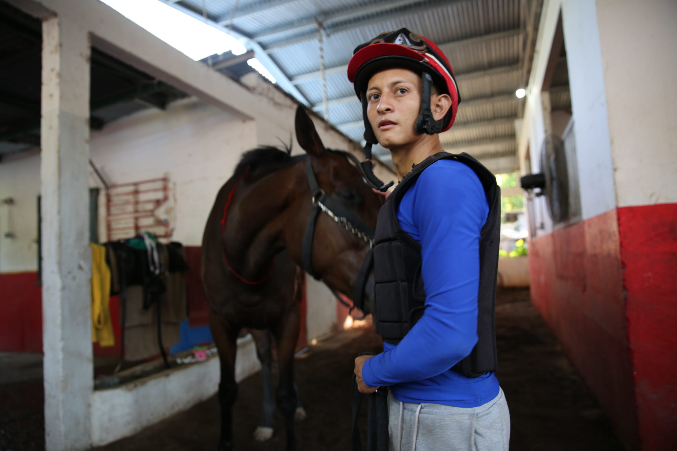 Wilmar Alarcon, 24, is among the students at the famed Laffit Pincay Jr. Technical Jockey Training Academy in Panama.