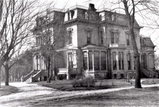 Osuld and Martha Torrison residence, 1506 Michigan Ave., Manitowoc. Formerly located at northwest corner of 15th Street and MIchigan Avenue. Osuld Torrison (1828-1892) was proprietor of O. Torrison Co. general merchandise, 210 N. Eighth St.