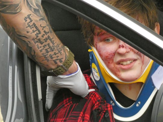 Students and local first-responders created a mock crash scenario Thursday morning at the Richland Fairgrounds.