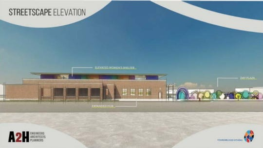 A rendering shows the exterior of a new Hospitality Hub, including an elevated women's shelter.