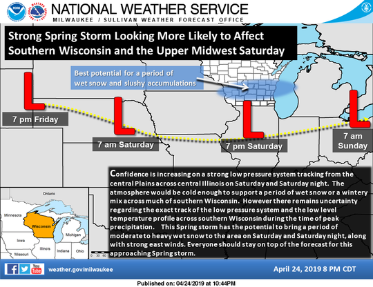 The forecast for southern Wisconsin is calling for accumulating snow this weekend.