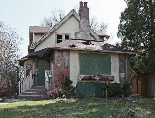April 25, 2019 Photographs of home that sustained heavy fire damage at North 13th Street and West Capitol Drive where a high speed chase ended with the pursued driver crashing into the home and died.Michael Sears/Milwaukee Journal Sentinel