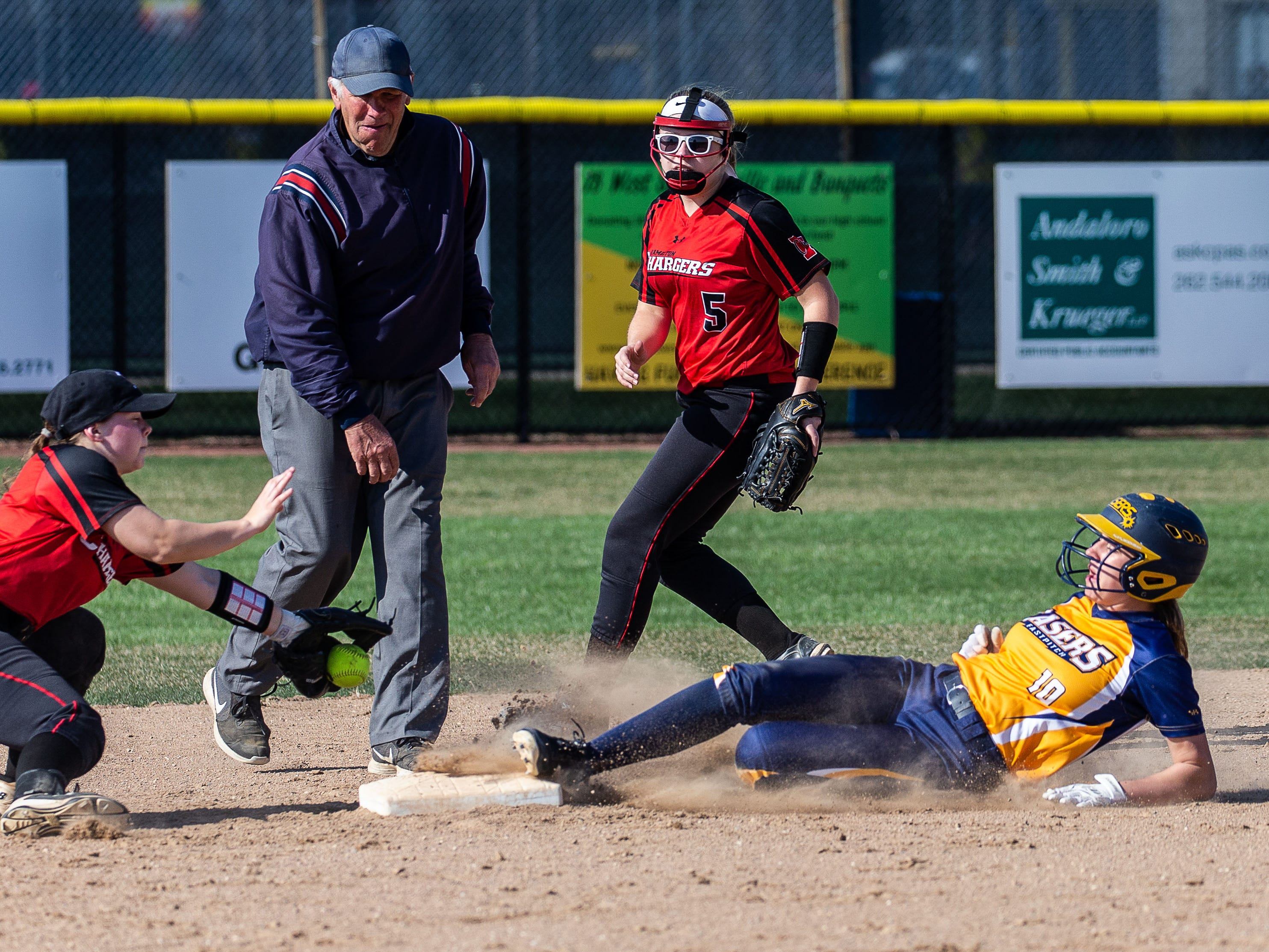 Kettle Moraine's Claudia Buchholz (10) steals second base during the game at home against Sussex Hamilton on Wednesday, April 24, 2019.