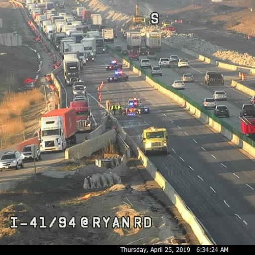 Two lanes of I-94 northbound at Ryan Rd. have reopened, but long delays remain