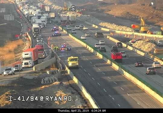 All lanes of I-94 northbound at Ryan Rd. are closed due to a crash.