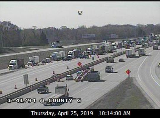 This freeway camera image shows traffic being routed off northbound I-41/94, shown at left, at Highway G in Racine County.