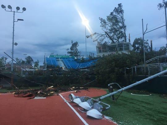 Storm damage at the Louisiana Tech Softball Complex in Ruston.