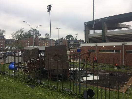 Storm damage at La. Tech's JC Love Field baseball stadium.