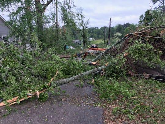 Storm damage off Trenton Street and I-20 in Ruston, La.