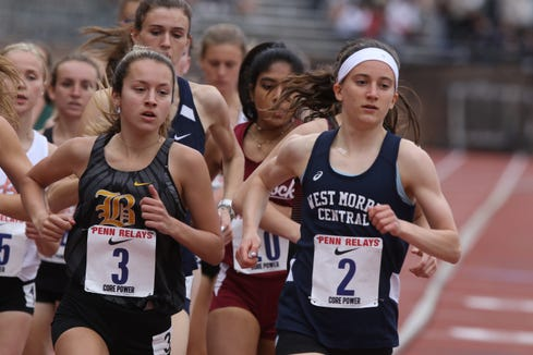 Julia Trethaway of West Morris is ahead of the pack at the beginning of the Penn Relays Championship of America 3,000 meters.