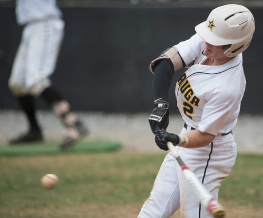 Autauga's Tyson Tubbs (2) hits the walk-off home run at Autauga Academy High School in Prattville, Ala., on Thursday, April 25, 2019. Autauga defeated Clarke Prep 4-3 with a walk-off home run in the first game of a doubleheader.