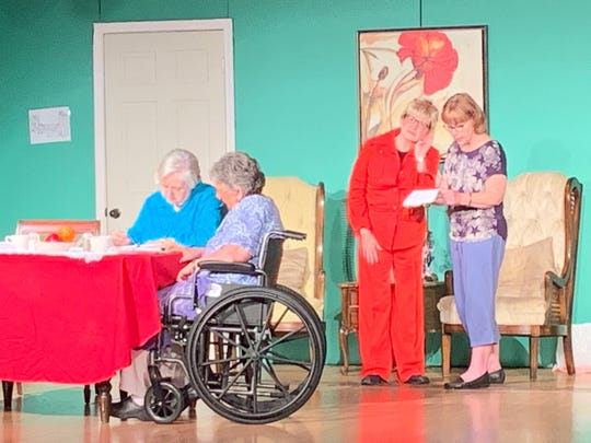 "From left, Angie Mitchell, Ginger Collum, Carol Majors, Nancy Power. A scene from Millbrook Community Players production of ""Independence Day at Happy Meadows,"" which runs through May 5, 2019, in Millbrook."