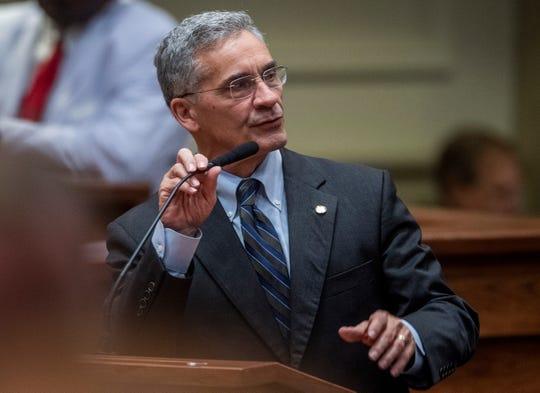 Sen. Del Marsh speaks on the senate floor in the Alabama Statehouse in Montgomery, Ala., on Thursday April 25, 2019.
