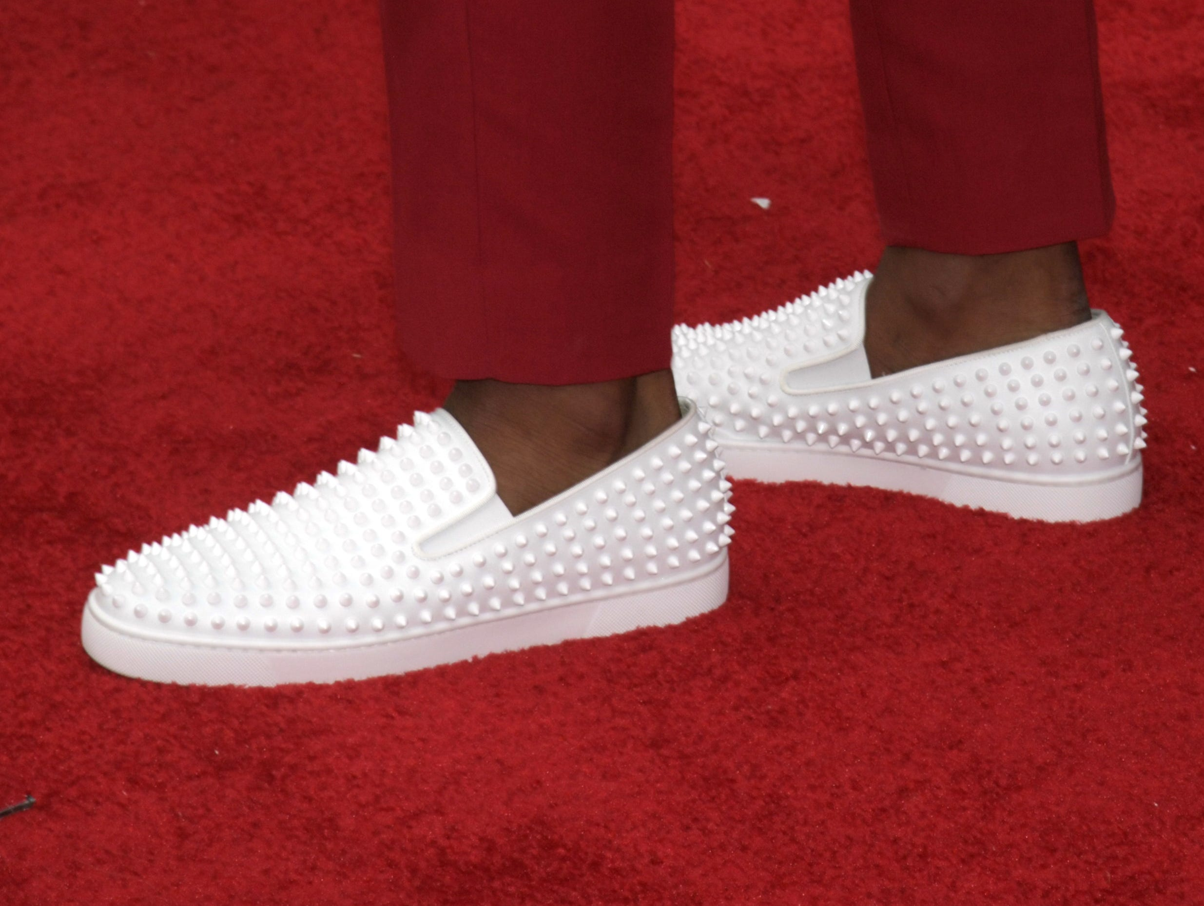 Apr 25, 2019; Nashville, TN, USA; Detail view of the shoes of Greedy Williams (Louisiana State) on the red carpet prior to the first round of the 2019 NFL Draft in Downtown Nashville. Mandatory Credit: Kirby Lee-USA TODAY Sports