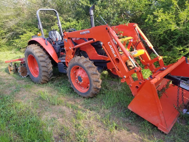 Unknown suspects stole a Kubota Tractor (Model: M6060HD S/N: 64345) with a Kubota Loader and Bucket (Model: LA1154 S/N: C0244).