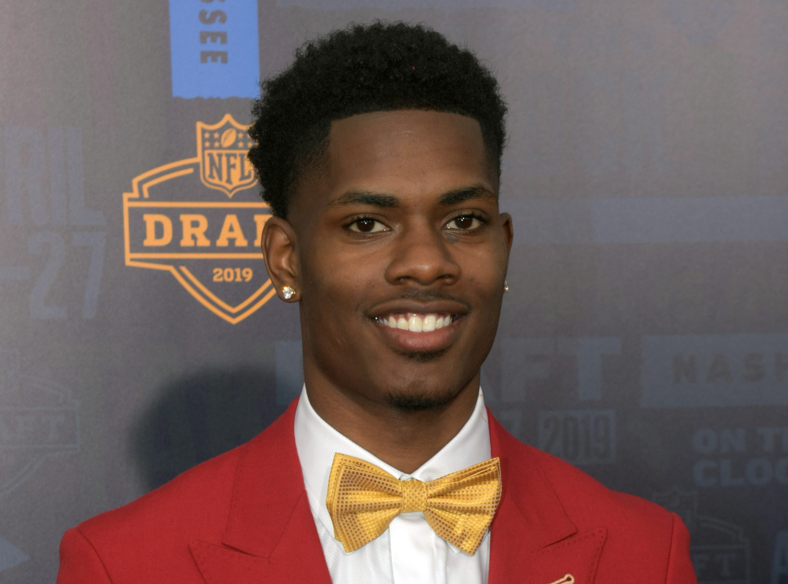 Apr 25, 2019; Nashville, TN, USA; Greedy Williams (Louisiana State) on the red carpet prior to the first round of the 2019 NFL Draft in Downtown Nashville. Mandatory Credit: Kirby Lee-USA TODAY Sports