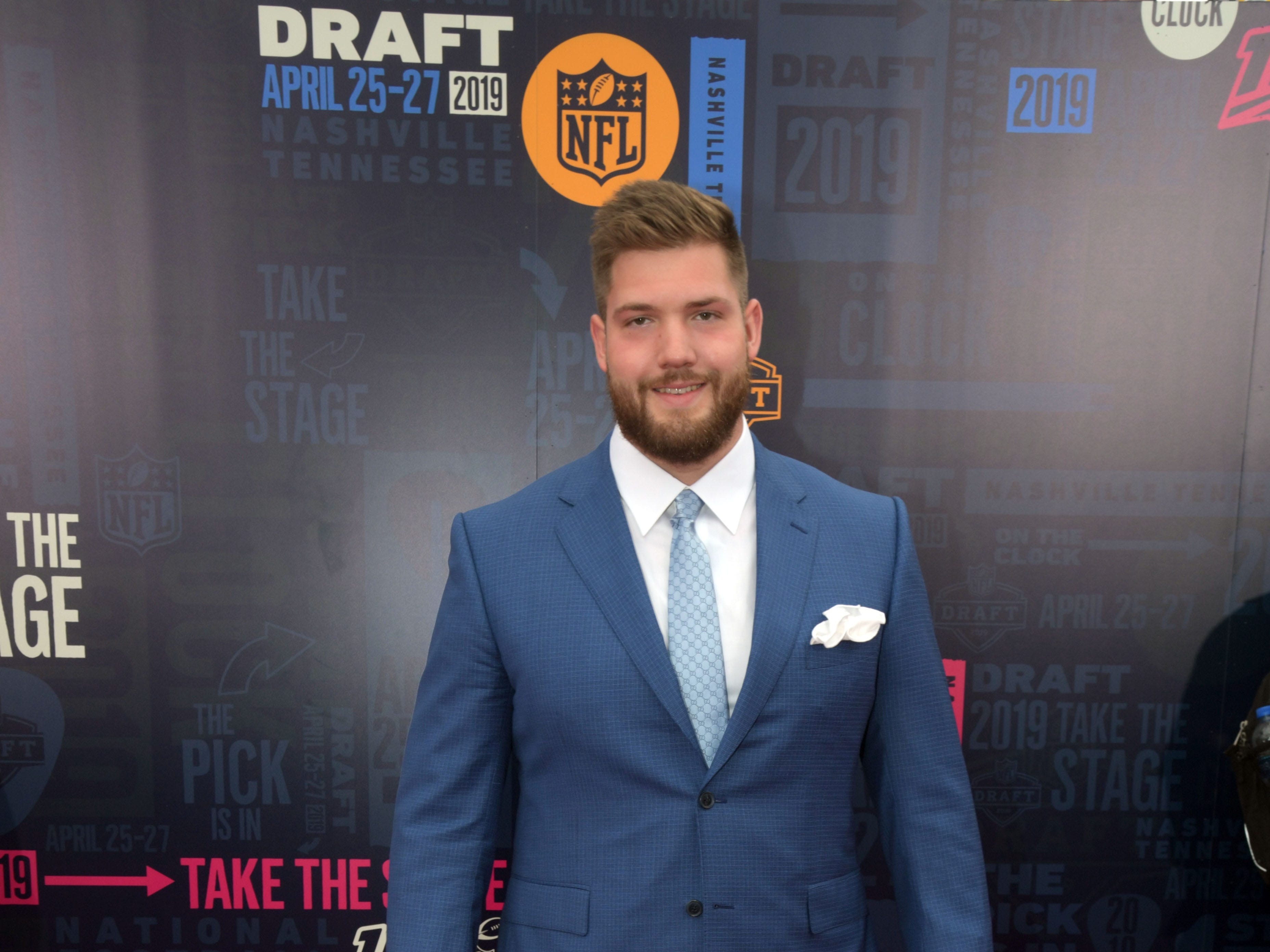 Apr 25, 2019; Nashville, TN, USA; Jonah Williams (Alabama) on the red carpet prior to the first round of the 2019 NFL Draft in Downtown Nashville. Mandatory Credit: Kirby Lee-USA TODAY Sports