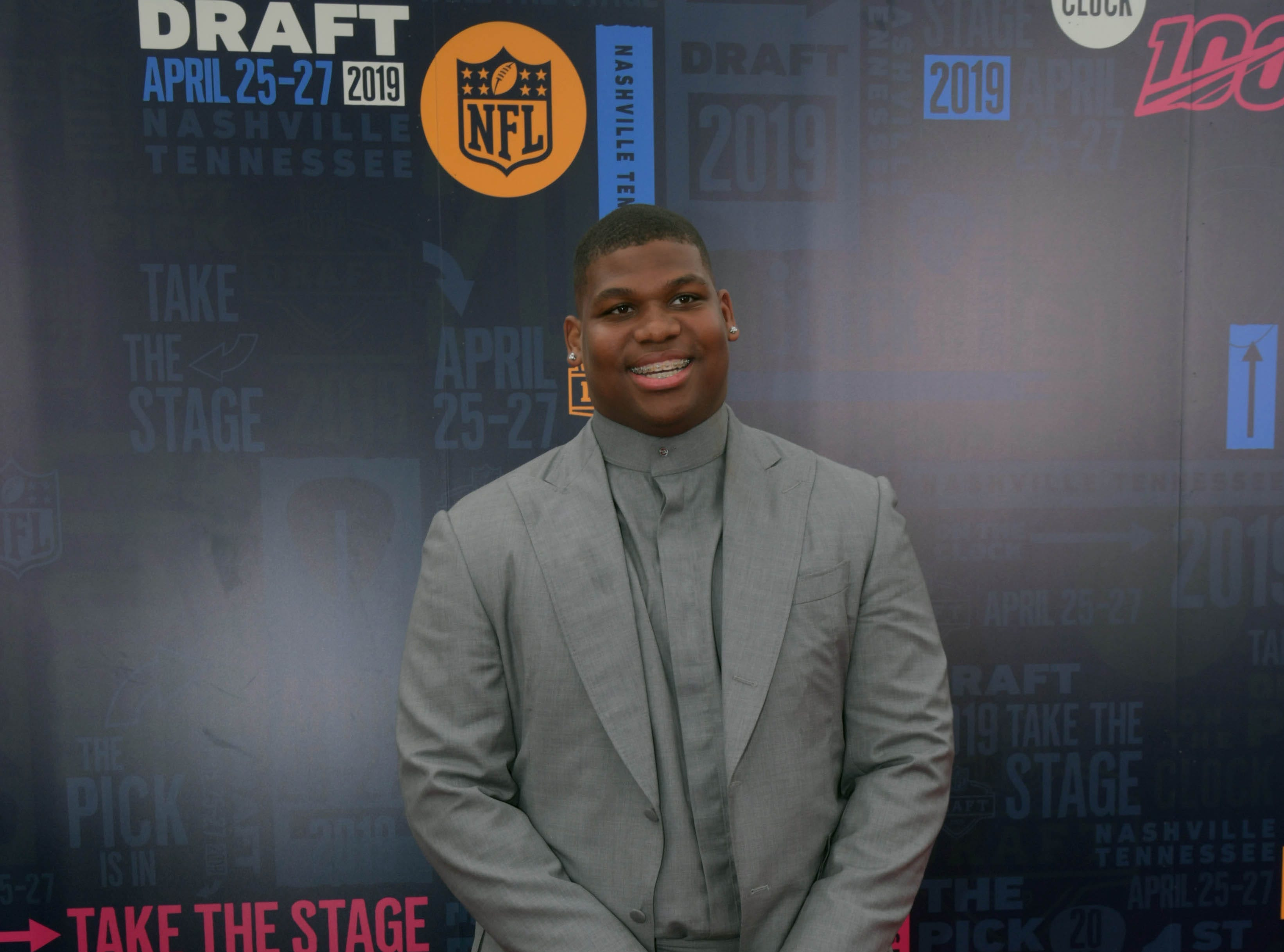 Apr 25, 2019; Nashville, TN, USA; Quinnen Williams (Alabama) on the red carpet prior to the first round of the 2019 NFL Draft in Downtown Nashville. Mandatory Credit: Kirby Lee-USA TODAY Sports