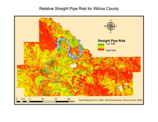 This map shows the risk of straight pipe wastewater drainage from properties not connected to a sewer system in Wilcox County, Alabama