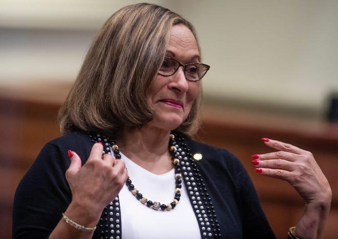 Sen. Vivian Figures on the senate floor in the Alabama Statehouse in Montgomery, Ala., on Thursday April 25, 2019.