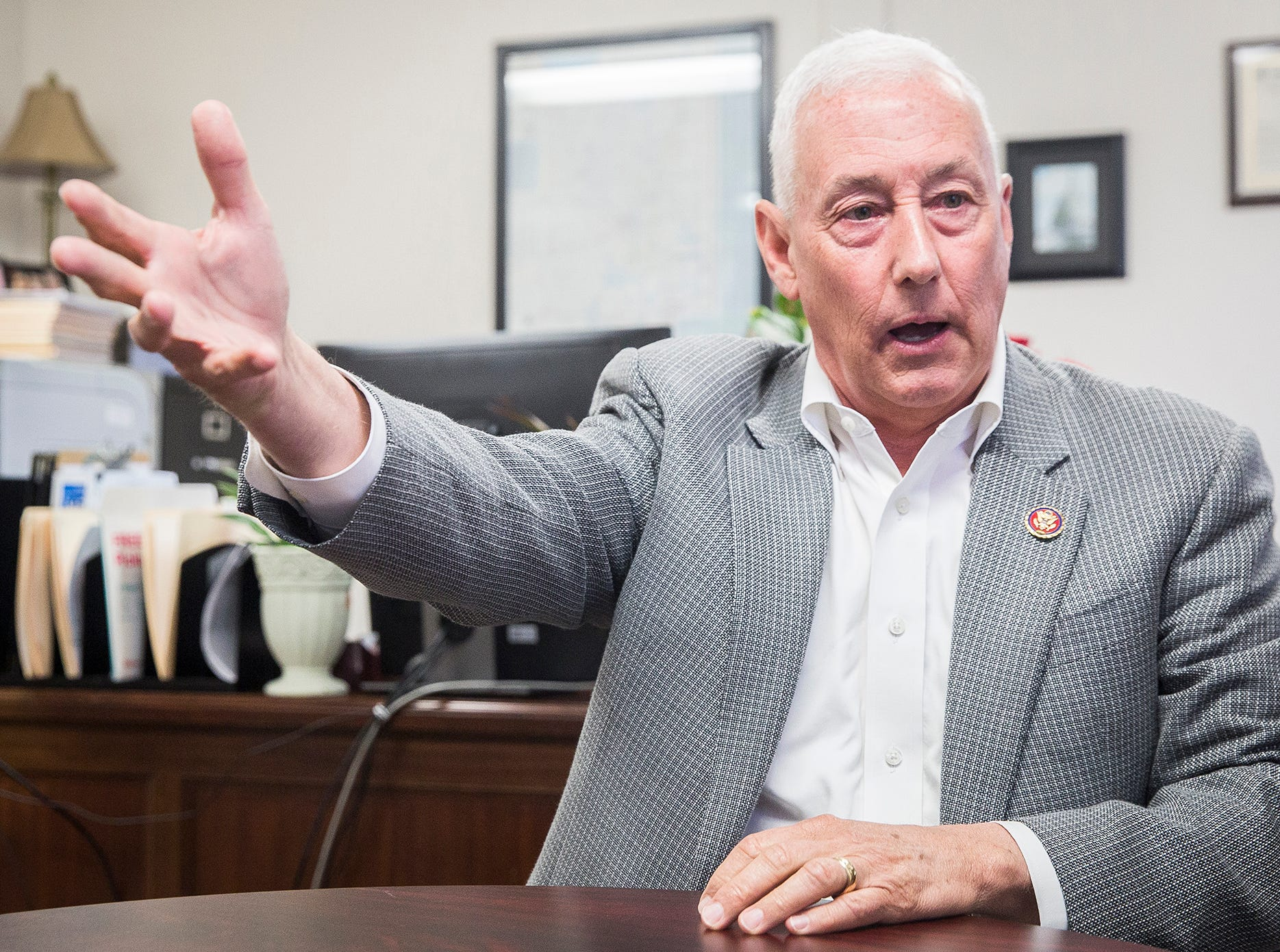 Rep. Greg Pence visited Muncie Thursday afternoon to speak with constituents during an open house for his new Muncie office location on Ethel Avenue.