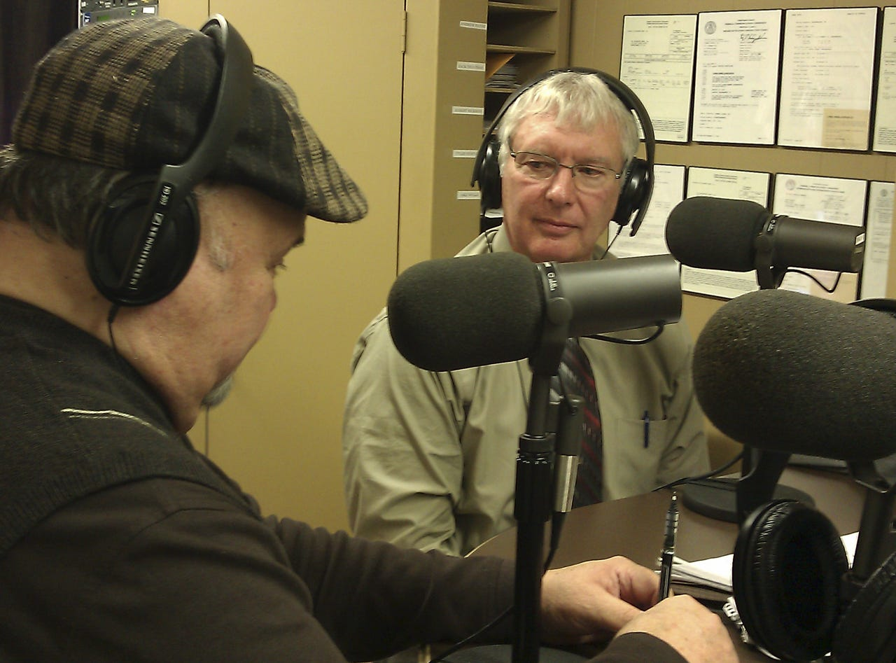 Former Rutherford County Sheriff Thuman Jones, right, interviews Dan Whittle Monday during the debut of his daily radio show on WNGS.