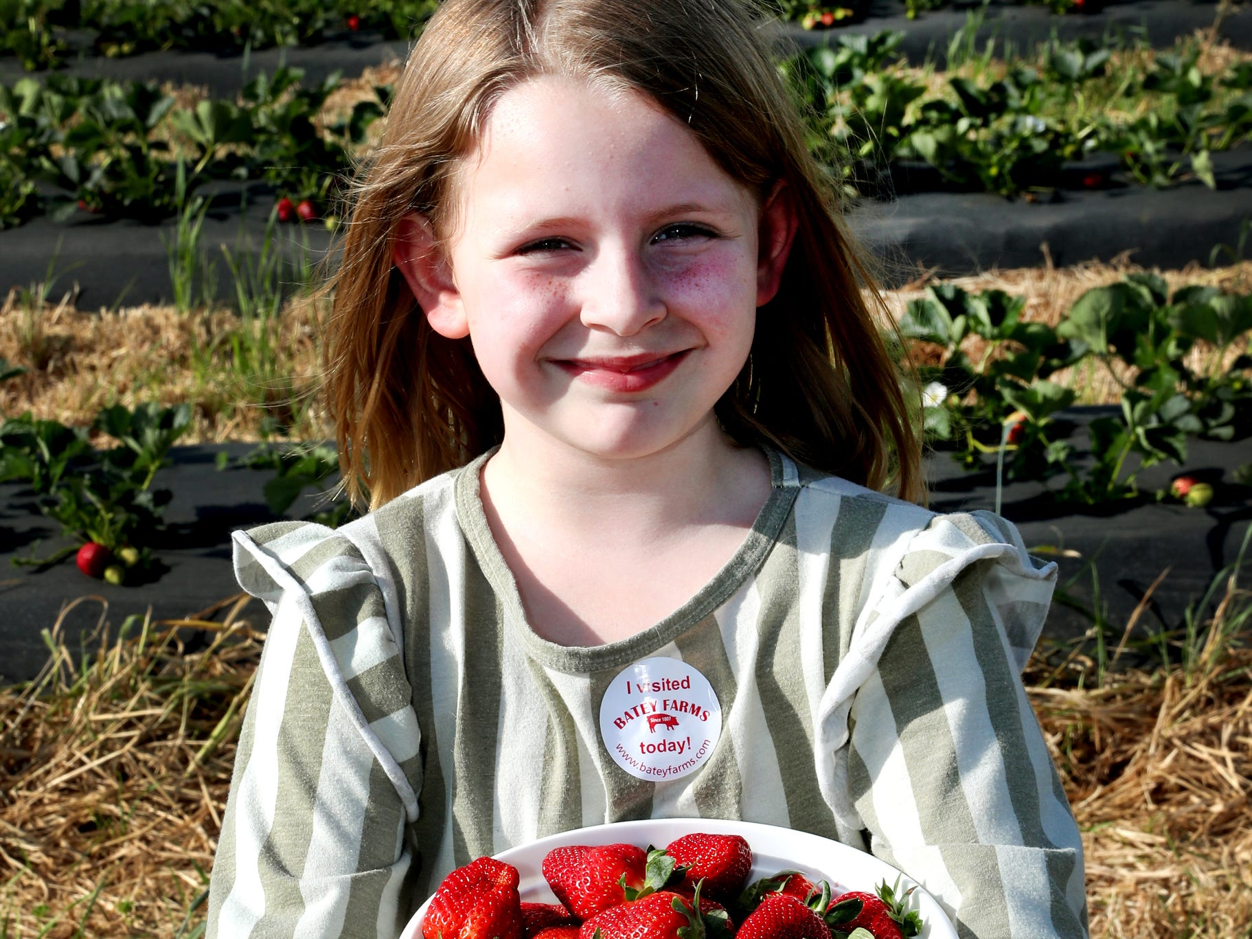 McKenna Davidson, 7, shows off her full basket of strawberries that she and her mom and sister picked on Wednesday April 24, 2019, at Batey Farms in Murfreesboro.