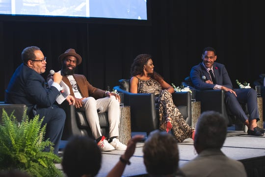 Georgetown University professor Michael Eric Dyson, Philadelphia Eagles safety Malcolm Jenkins, BMI executive Catherine Brewton and Tennessee Titans linebacker Derrick Morgan take part in a panel discussion at the Sounds of Social Justice event on April 24, 2019 in Nashville. The conversation focused on the intersection of music, athletes and activism.