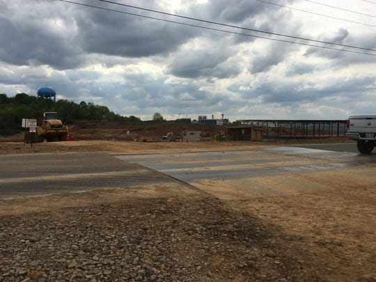 Construction continues on Bill Jones Industrial Boulevard in Springfield as the local Electrolux undergoes expansion on Wednesday, April 24, 2019. Company officials are working to install a tunnel under the roadway near this equipment crossing. It will connect Electrolux's two sites, currently on opposite sides of the road.