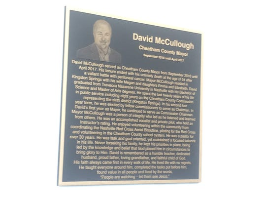 A plaque honors late Cheatham County Mayor David McCullough in the community room dedicated in his honor at the county-owned Sycamore Square Shopping Center, at 322 Frey Street in Ashland City.