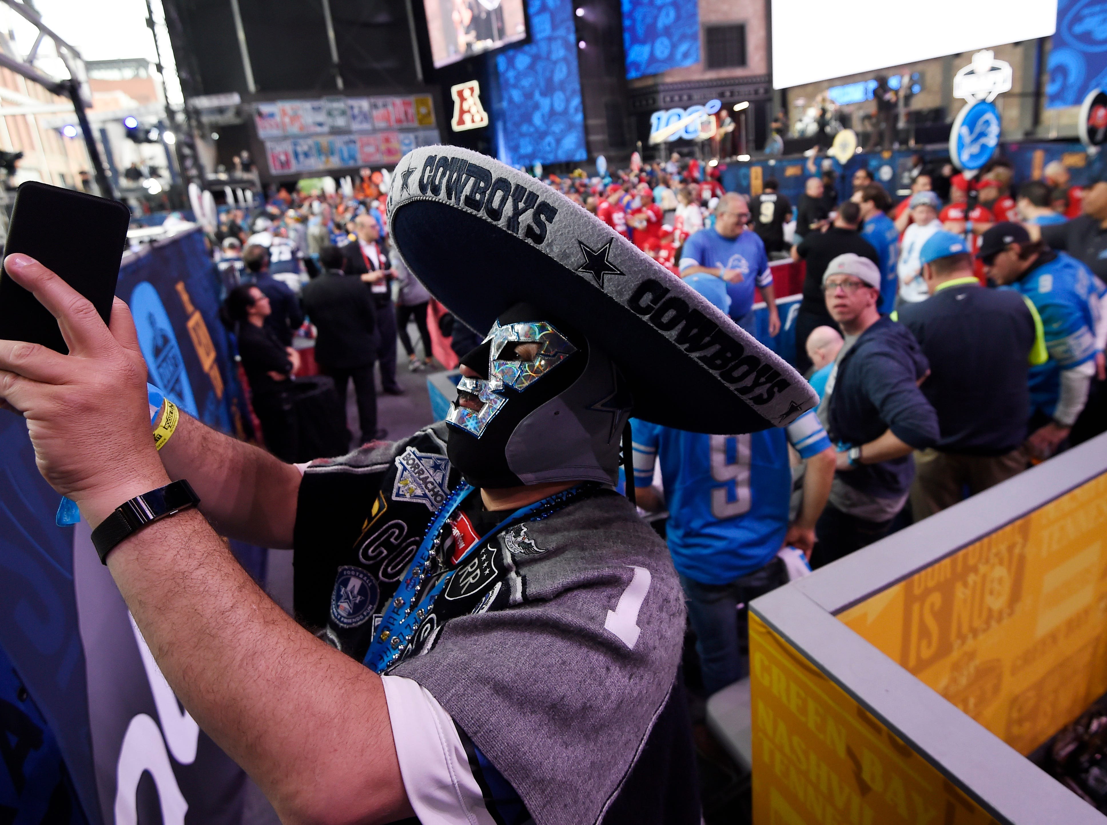 Julio Marin takes a selfie before the first round of the NFL Draft Thursday, April 25, 2019, in Nashville, Tenn.