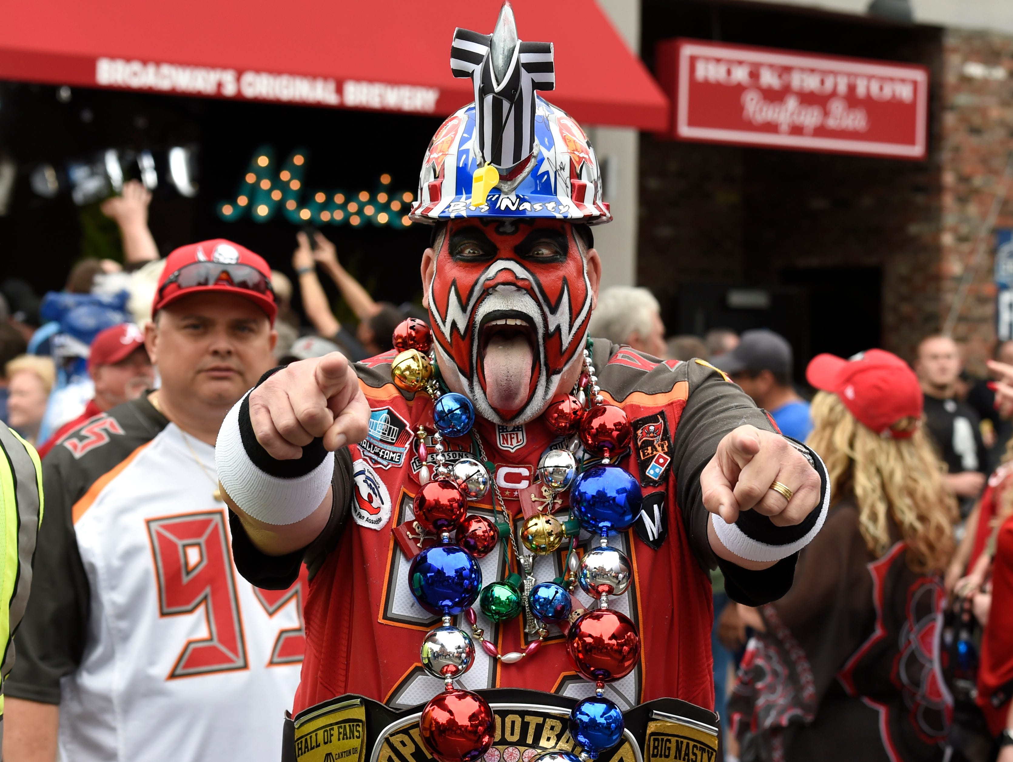 Tampa Bay fan Keith Kunzig celebrates before the first round of the NFL Draft Thursday, April 25, 2019 in Nashville, Tenn.