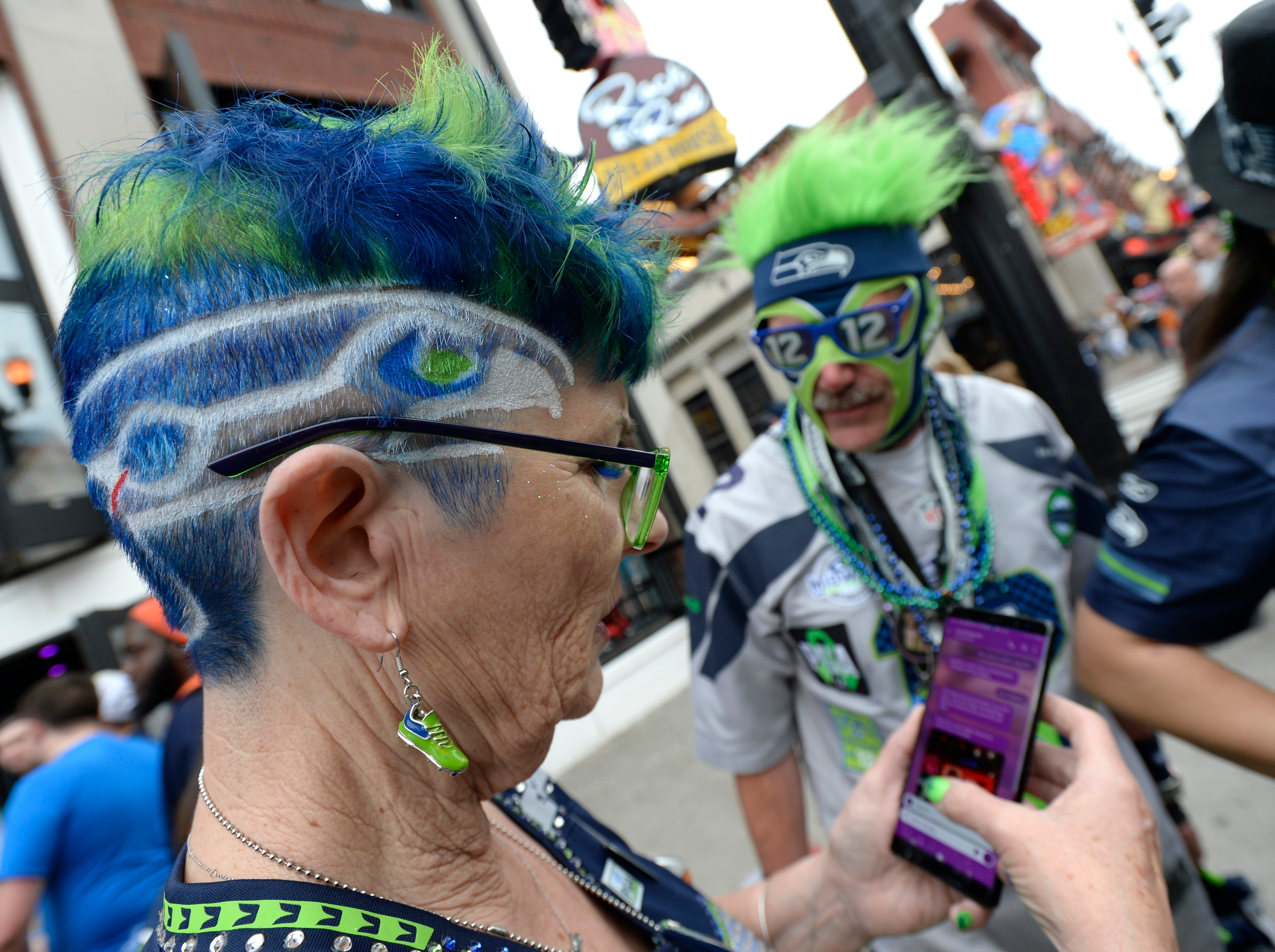 Seahawks fans gather before the start of the first round of the NFL Draft Thursday, April 25, 2019 in Nashville, Tenn.