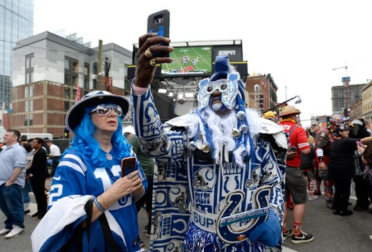 Colts fan Michael Thompson takes a selfie on Lower Broaddway during the first round of the NFL Draft  Thursday, April 25, 2019 in Nashville, Tenn.