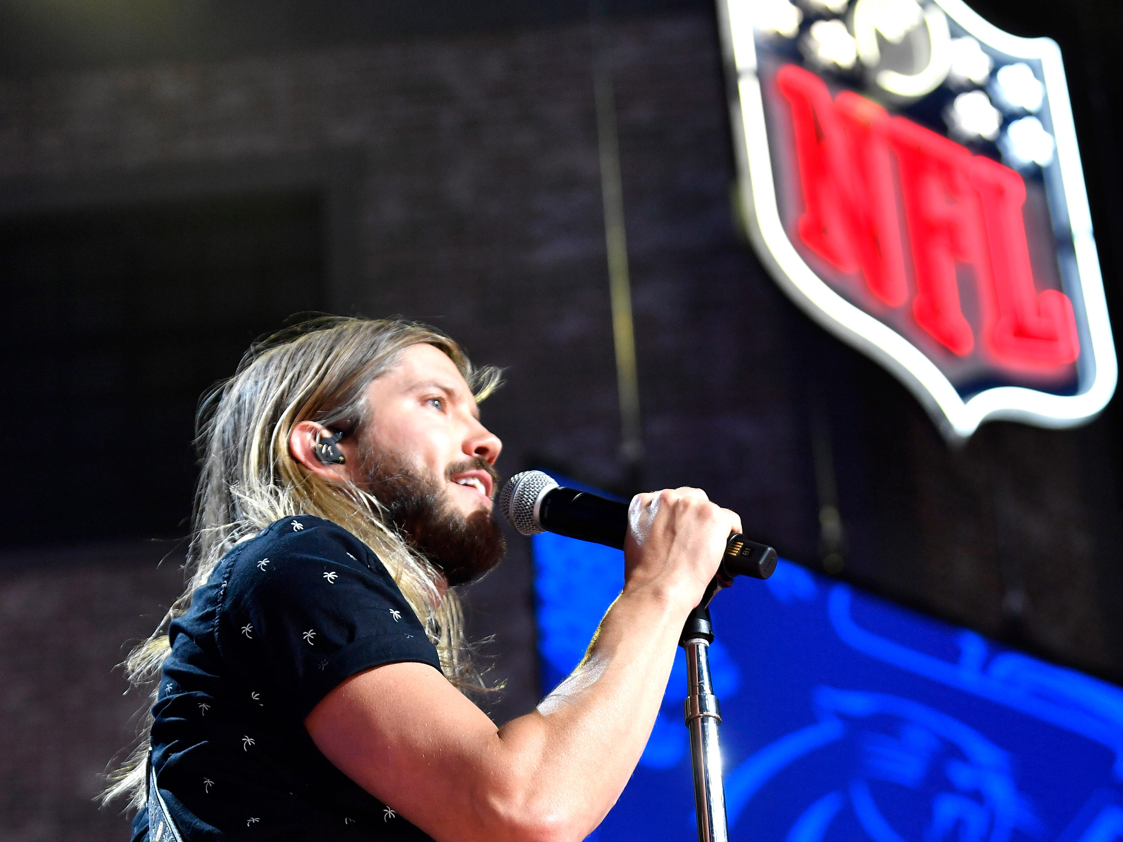 Moon Taxi performs on the main stage before the start of the first round of the NFL Draft Thursday, April 25, 2019, in Nashville, Tenn.