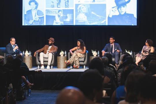 Georgetown University professor Michael Eric Dyson, Philadelphia Eagles safety Malcolm Jenkins, BMI executive Catherine Brewton, Tennessee Titans linebacker Derrick Morgan and National Museum of African American Music curatorial director Dina Bennett take part in a panel discussion at the Sounds of Social Justice event on April 24, 2019 in Nashville. The conversation focused on the intersection of music, athletes and activism.