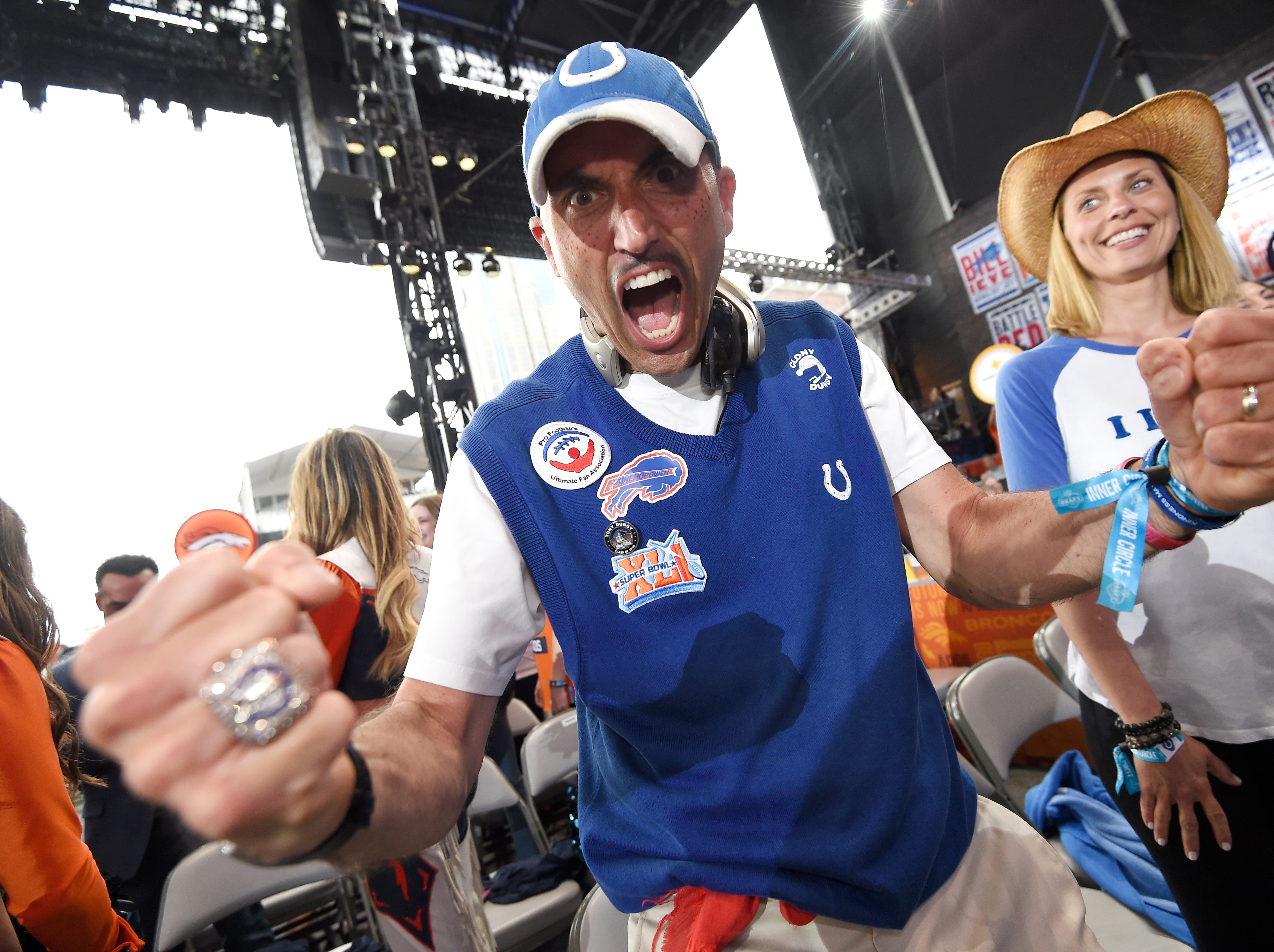 """Colts fan Mike """"Clony Dungy"""" Bostic is ready for the start of the first round of the NFL Draft Thursday, April 25, 2019, in Nashville, Tenn."""