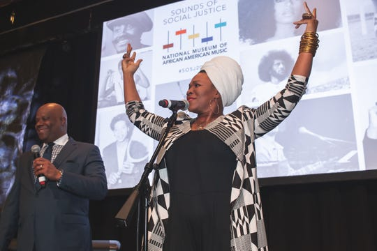 India.Arie, national chair for the National Museum of African American Music, addresses the crowd at the Sounds of Social Justice event on April 24, 2019, in Nashville.